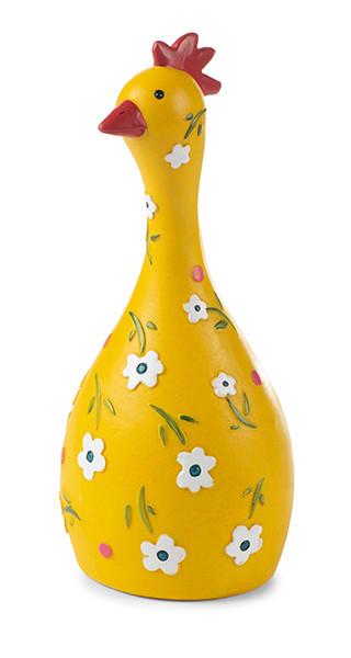 Huhn gelb mit Blümchen bemalt zum stellen H. ca. 15 cm