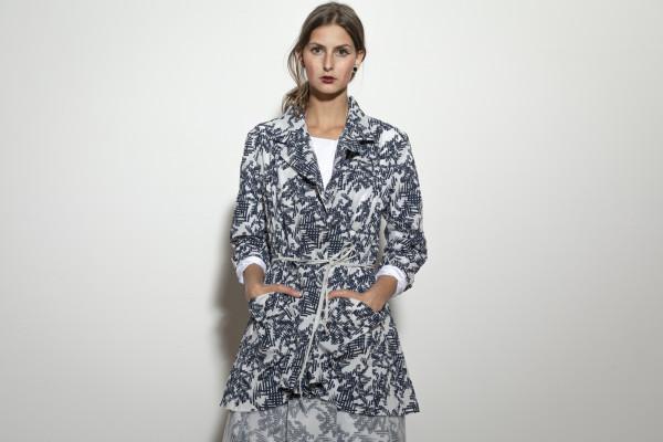 Jacke/ Blazer lang Print dunkelblau